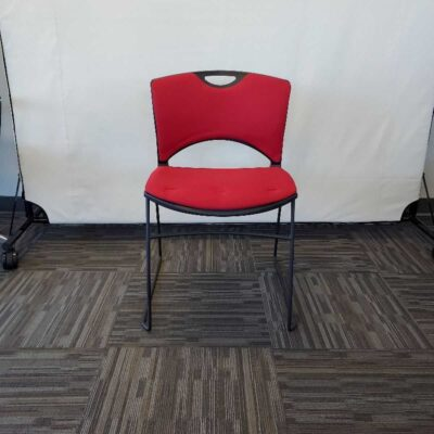 red stacking chair